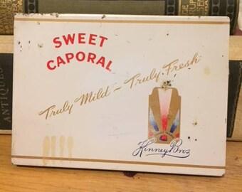 Vintage 1950's  Sweet Caporal Cigarette Tin, Antique Cigarette Tin, Vintage Decor, Antique Decor, Industrial Decor, Trinket box