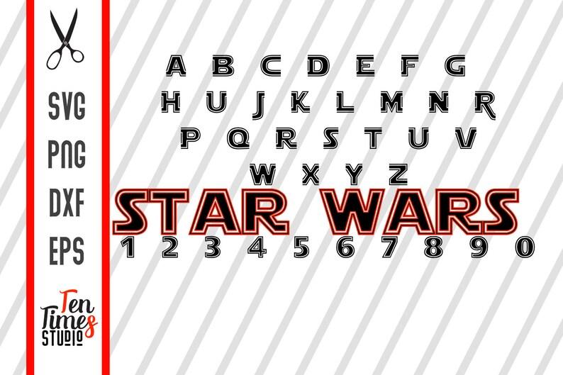 Star wars outline font alphabet Cutting Files Cricut Silhouette