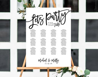 Seating Chart Template, Wedding Seating Chart, Seating Plan, Seating Chart Poster, Wedding Seating Sign, Seating Chart Board, Let's Party