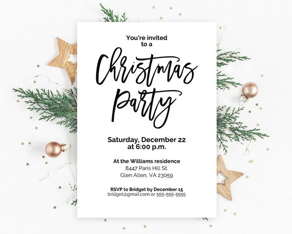 Christmas Party Invitations Christmas Party Invites Etsy