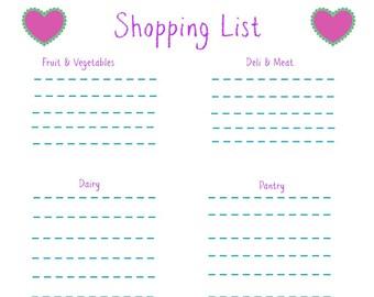 Shopping List Hearts