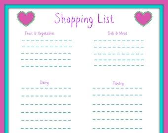 Shopping List Hearts Framed
