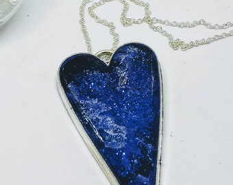 12b2882c5a37f9 Two Inch Glitter Blue Ocean Heart Pendant Necklace with Sterling Silver  Chain