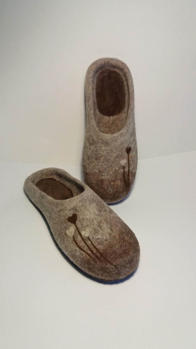 Beige brown felted wool slippers Warm house shoes Natural beige slippers handmade Personalized shoes all sizes made to order 100% wool