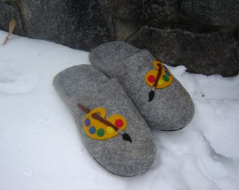 Slippers womens wool natural grey Slippers  Handmade with picture - Cute house slippers from grey organic wool Womens Gift-  birthday gift