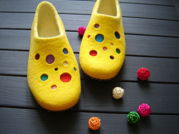 Bright women s slippers felted wool slippers yellow kids  ba930a9e2e