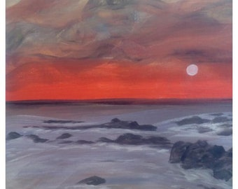 Acrylic paintng , seaside, sunset, réd, seascape,