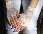 Bridal Gloves, Wedding Gloves, Of White Lace Gloves. Gloves, Stretch Lace, Fingerless Lace Glove.