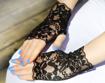 Black Lace Gloves. Stretch lace, Fingerless Lace Gloves. Gift for Her.