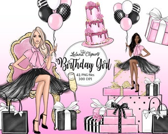 Birthday clipart fashion illustration, Birthday party clip art, Planner stickers girly clipart, Black pink clipart of cakes and gift box