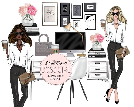 Blogger clipart Girl Boss clip art Lady Planner Lifestyle Illustration Fashion clipart Business Template Girlboss Graphic Ladyboss Style