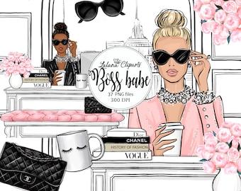 Girl boss clipart, Planner girl clip art fashion illustration, Fashion girl digital clipart kit, Girl Boss Babe office graphics