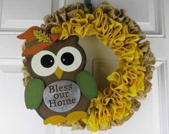 Bless Our Home Fall Burlap Wreath With Owl, Owl Wreath, Fall Wreath, Burlap Wreath
