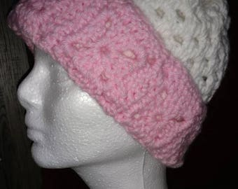 Pink and White Granny Square Hat