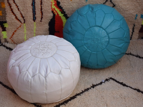 embroidered pouf handmade furniture Set of 2 Home round furniture Moroccan leather brown with black stitch /& medium tan poufs