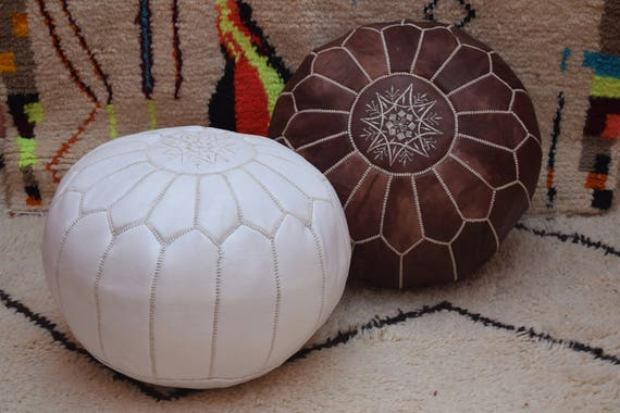 Miraculous 2 Moroccan Ottoman Pouf Dark Tan And White Leather Pouf Moroccan Decor Round Ottoman Pouf Furniture Floor Pouf Handmade Moroccan Pouf Spiritservingveterans Wood Chair Design Ideas Spiritservingveteransorg