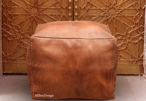 Swell Tan Color With White Stitch Handmade Furniture Pouf Square Moroccan Pouf Ottoman Leather Poufs Moroccan Dimensions 45Cm 45Cm 35Cm Ncnpc Chair Design For Home Ncnpcorg