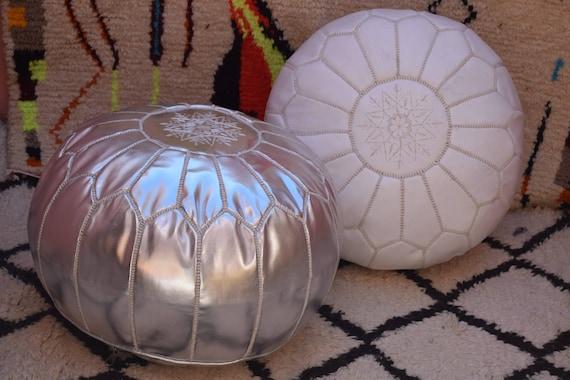2 Moroccan pouf White and Light mustard leather pouf  moroccan decor round ottoman pouf furniture floor pouf home decor moroccan pouf