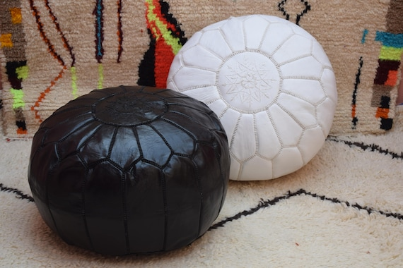 Brilliant 2 Moroccan Leather Poufs Black And White Ottoman Poufs Moroccan Decor Round Ottoman Pouf Furniture Handmade Moroccan Pouf Gmtry Best Dining Table And Chair Ideas Images Gmtryco
