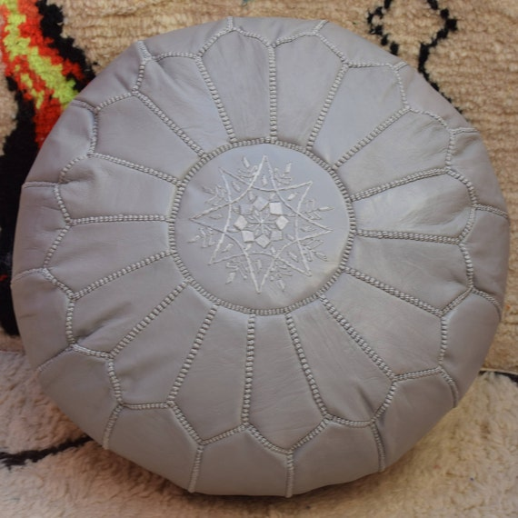 Awesome Moroccan Pouf Light Grey Leather Ottoman Pouf Moroccan Decor Round Ottoman Pouf Furniture Floor Pouf Home Decor Moroccan Pouf Inzonedesignstudio Interior Chair Design Inzonedesignstudiocom