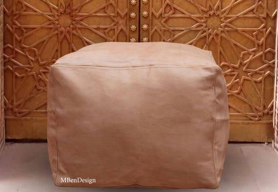 Ottoman Home decor Handmade furniture Square  pouf Moroccan leather natural pouf ottoman design poufs moroccan dimensions 45cm* 45cm* 35cm