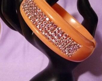 Vintage Swarovski Clamper Bracelet orange and pink