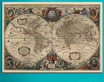 Ancient wall art map etsy ancient world map double hemisphere canvas panels set large vintage world map print detailed world map gumiabroncs Images