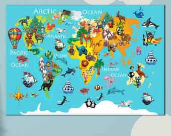 Preschool World Map.Preschool World Map Etsy