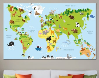 Continent names etsy preschool funny world map nursery cartoon world map canvas print world map with names of continents publicscrutiny Image collections