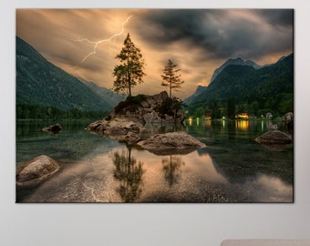 Mountain lake in evening canvas print Nature photography lake in the mountains Beautiful mountain landscape canvas art large canvas print
