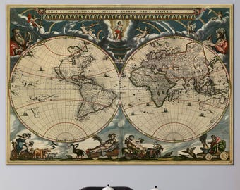 Ancient world map etsy vintage world map double hemisphere canvas panels set large ancient world map print detailed world map wall art for home office decor gumiabroncs Image collections
