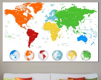Huge world map etsy multicolour detailed world map wall art with countries names canvas print large world map home decor gumiabroncs Image collections