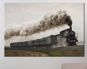 Steam canvas Wall Art Steam train prints Canvas Print locomotive running on rails Ready to Hang Multi Panel Photoprint large Canvas print