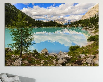 Mountain lake in Alps canvas print Nature photography lake in the mountains Beautiful mountain landscape canvas art large canvas print
