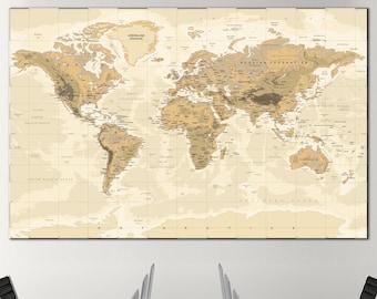 Large world map   Etsy