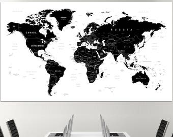Black and white map etsy large black and white world map wall art with countries names canvas print large black gumiabroncs Images