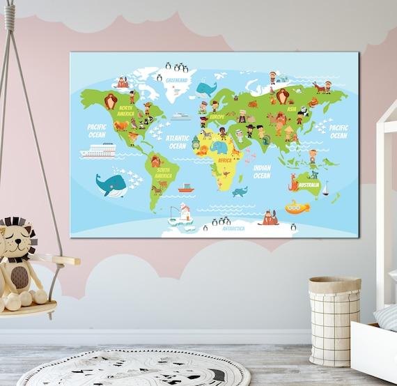 Preschool World Map.Funny World Map Nursery Cartoon World Map Canvas Print Etsy