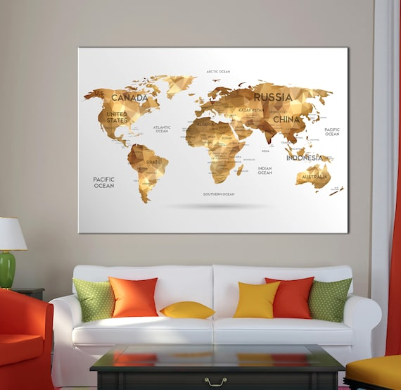 RETRO VINTAGE WORLD MAP CANVAS WALL ART PICTURE LARGE 75 X 50 CM
