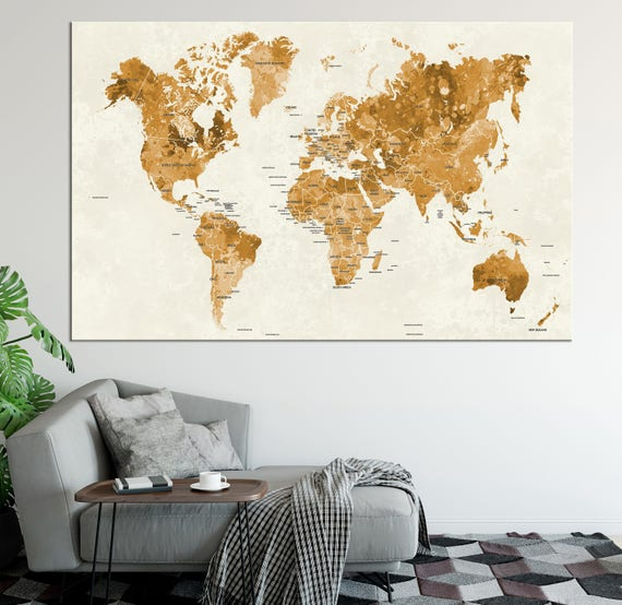 Gold World Map Wall Art.Large Gold World Map Wall Art With Countries Names Canvas Etsy