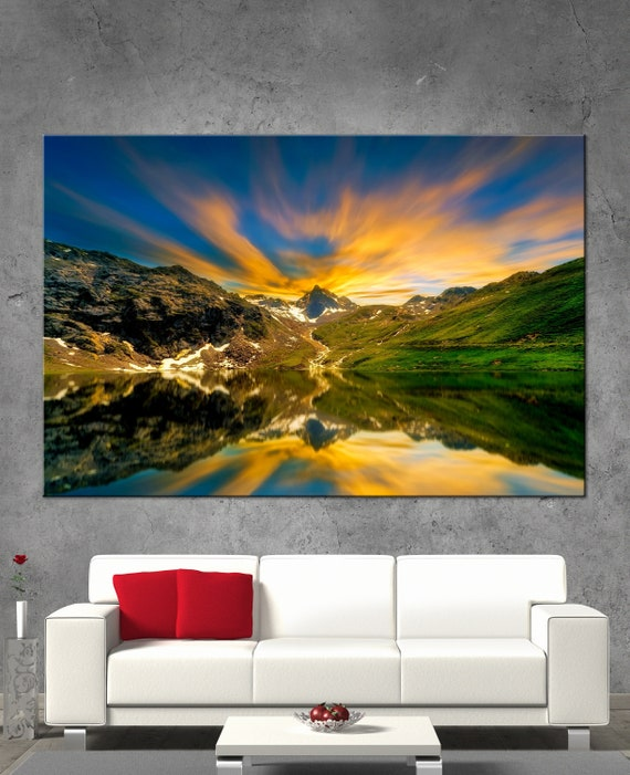 Beautiful Nature Mountain Sunrise Picture Print On Wood Framed Canvas Wall Art