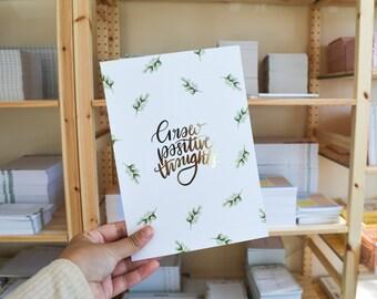 Gold Foiled A5 Wall Print | Grow Positive Thoughts Print, Minimal Wall Art, Gold Minimal Home Decor, Uni Room, Sage Wall Art, Leafy Print