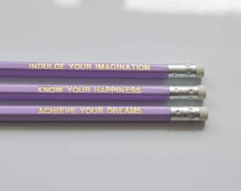 Imagination Pencils - Sustainable Quote Pencil Set | Gold Foiled Personalised Pencils, Pastel Lilac Pencils, Gifts for Stationery Lover