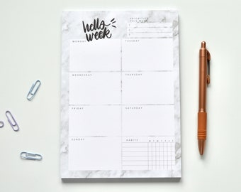 Marble A5 Weekly Planner | habit tracker, weekly organiser, weekly planner pad, desk planner pad, weekly overview planner, week to view