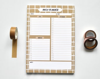 Coffee Grid A5 Daily Planner | Daily Organiser Pad, Daily Schedule Pad, Daily Planner Pad, Daily Planner Hourly, Daily Routine, Lifestyle