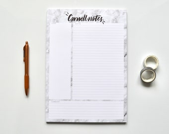 Marble | A4 Cornell Notepad - Weekly Planner Organiser - Leafy Desk Pad - weekly planner - Timetable Planner - Organiser
