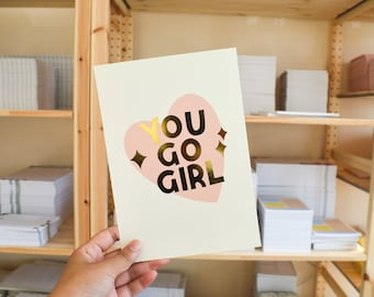 Gold Foiled A5 Wall Print | You Go Girl Motivational Quote Print, Pink Pastel Wall Art, Interior Design, Gold Minimal Home Decor, Uni room