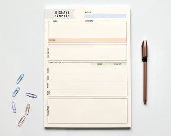 A4 Disease Summary Notepad for Medical Students, Nursing Students | Student Revision Stationery, Student Gifts, Study Planner, Clinicals