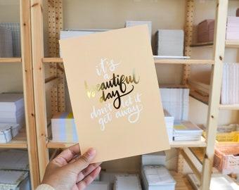 Gold Foiled A5 Wall Print | Beautiful Day Motivational Quote Print, Minimal Wall Art, Gold Minimal Home Decor, Beige Danish Decor, Uni Room