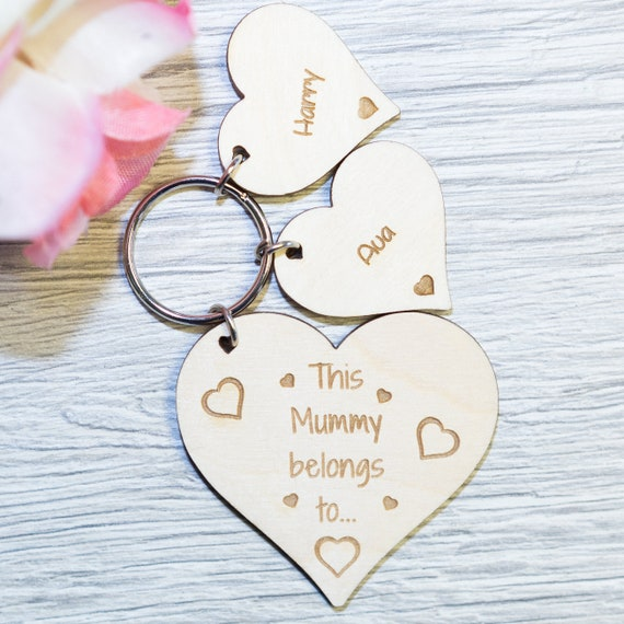 Personalised Mothers Day Keyring Gift Novelty Wooden Keychain Bespoke Wood Gifts