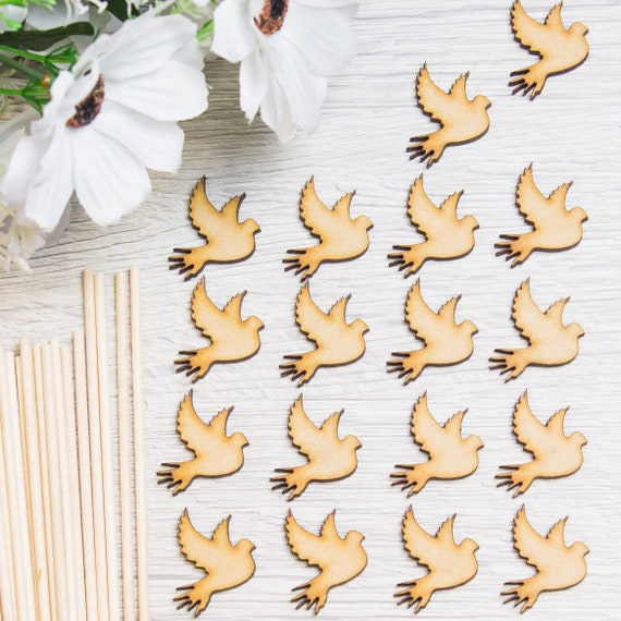 Christmas Rustic Wedding Craft Laser Cut Wood MDF Dove Bird Shape